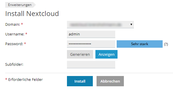Install Nextcloud on Domain