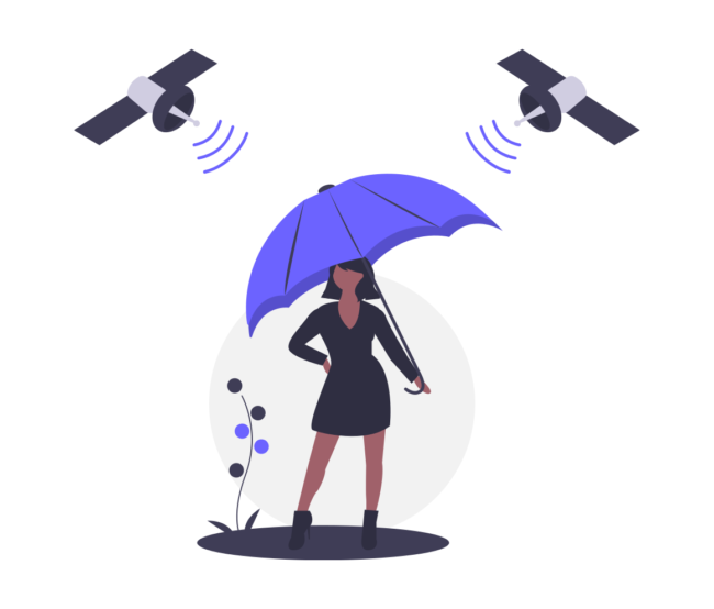 Woman with umbrella and satellites